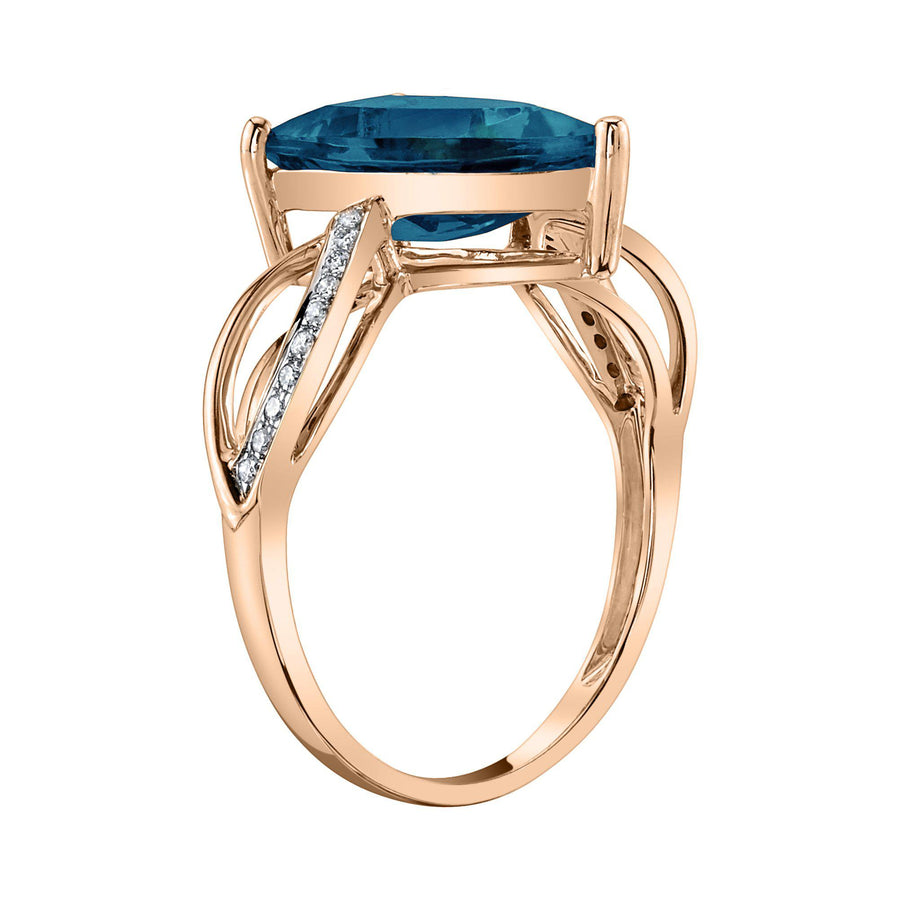 14K 3.14 Cts London Blue Topaz 0.07 Cttw VS Diamond Ring - TVON.com