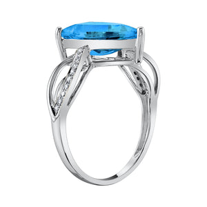 14K 3.14 Cts London Blue Topaz 0.07 Cttw VS Diamond Ring