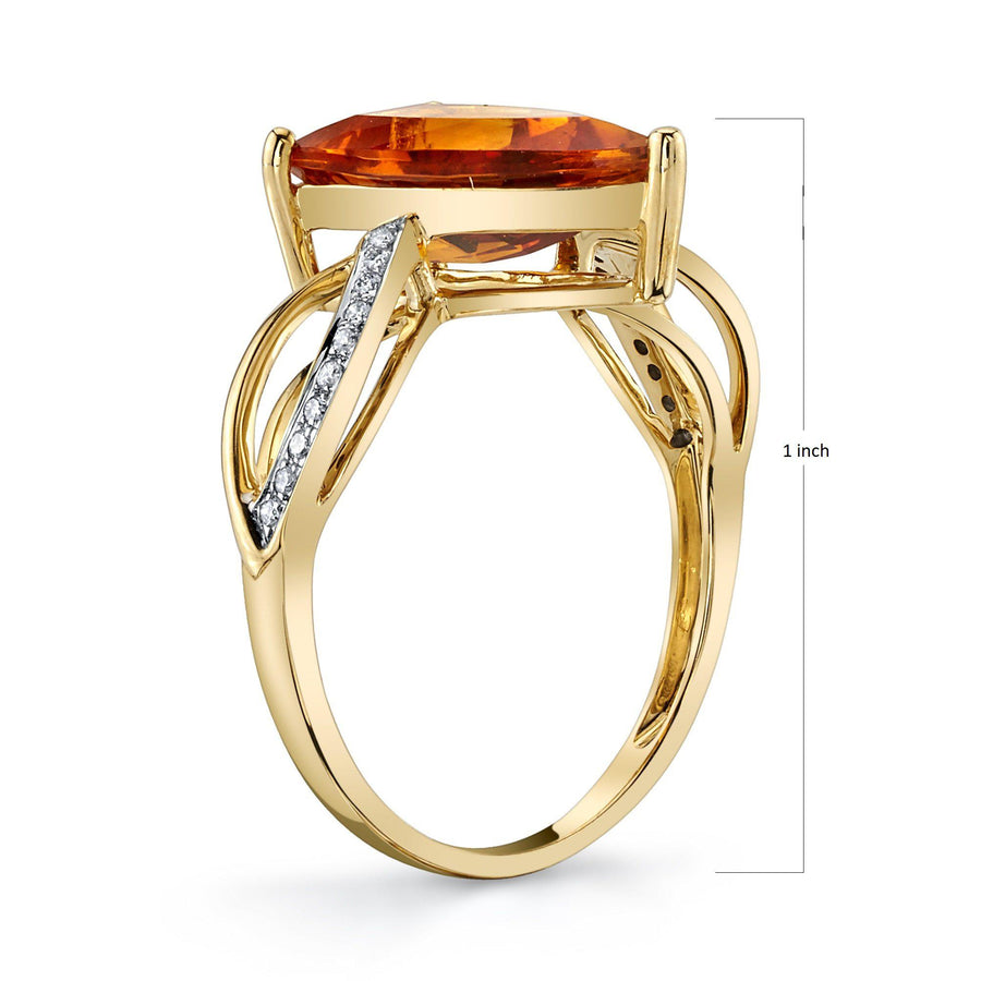 TVON - 2.3Cts Half-Marquise Natural Citrine Gemstone and Diamonds - Signature Design Ring for Women in 14K Gold with Prong Setting - R10436 - 2