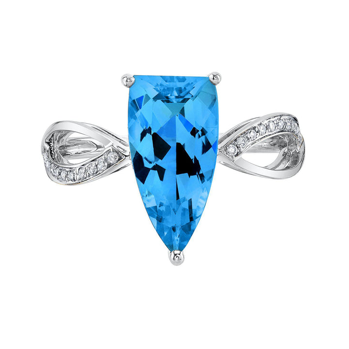 TVON - 3.14Cts Half-Marquise Natural Swiss Blue Topaz Gemstone and Diamonds - Signature Design Ring for Women in 14K Gold with Prong Setting - R10436 - 6