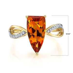 TVON - 2.3Cts Half-Marquise Natural Citrine Gemstone and Diamonds - Signature Design Ring for Women in 14K Gold with Prong Setting - R10436 - 1