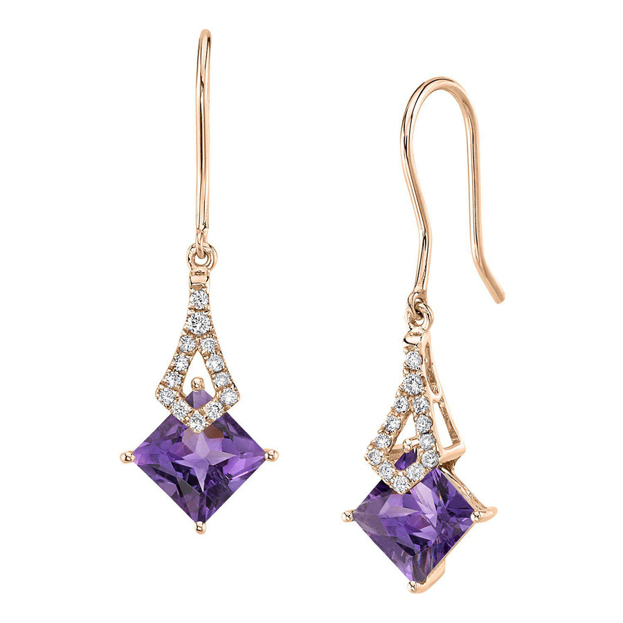 TVON -1.71Cts Princess Natural Gemstone and Diamond - Dangle Earring for Women in 14K Gold with Prong Setting and Fish Hook - Back Finding - E10112 - 6