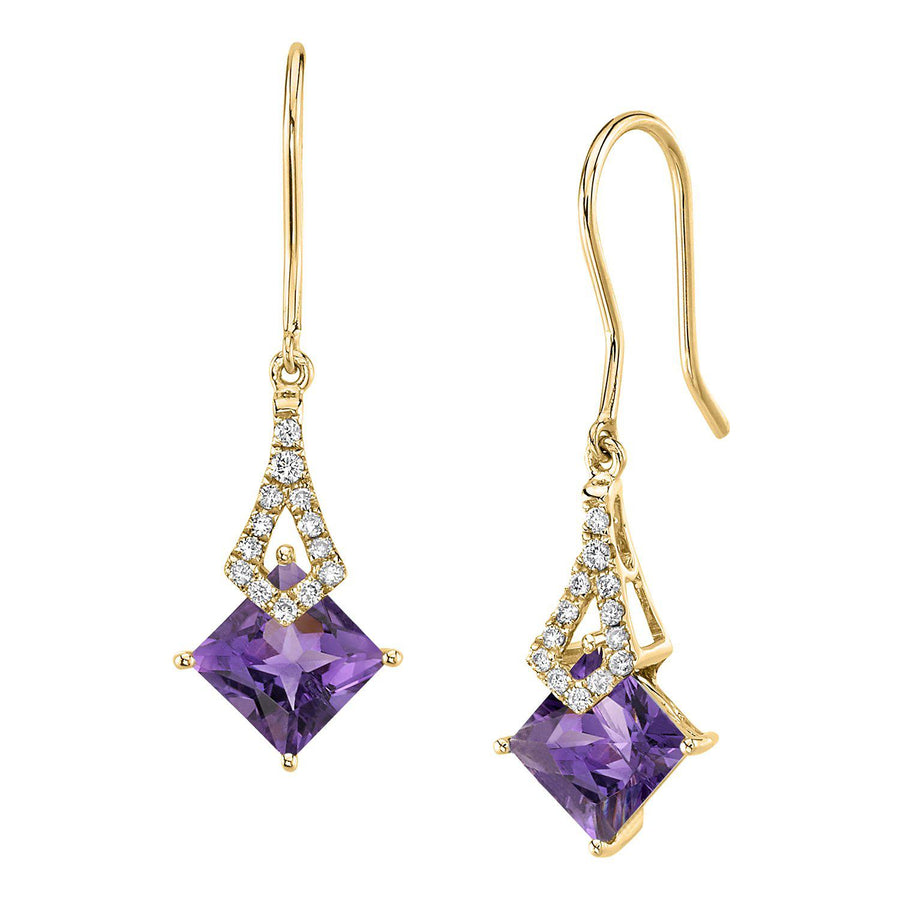 TVON -1.71Cts Princess Natural Gemstone and Diamond - Dangle Earring for Women in 14K Gold with Prong Setting and Fish Hook - Back Finding - E10112 - 8