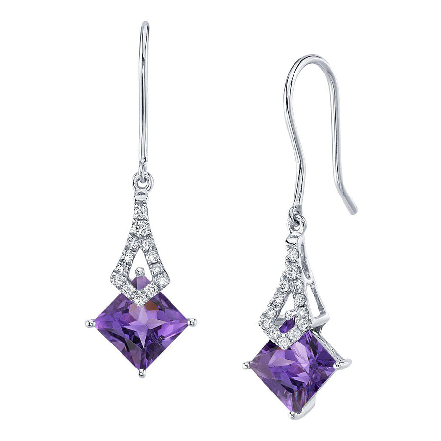 TVON -1.71Cts Princess Natural Gemstone and Diamond - Dangle Earring for Women in 14K Gold with Prong Setting and Fish Hook - Back Finding - E10112 - 11