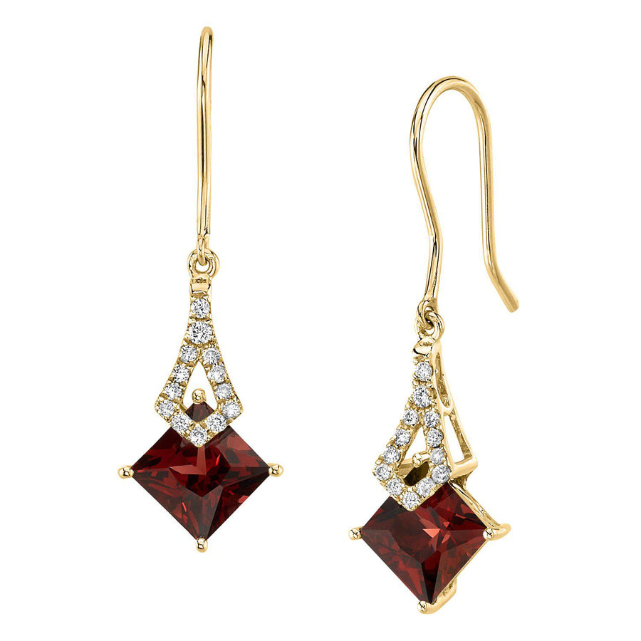 TVON -1.71Cts Princess Natural Gemstone and Diamond - Dangle Earring for Women in 14K Gold with Prong Setting and Fish Hook - Back Finding - E10112 - 12