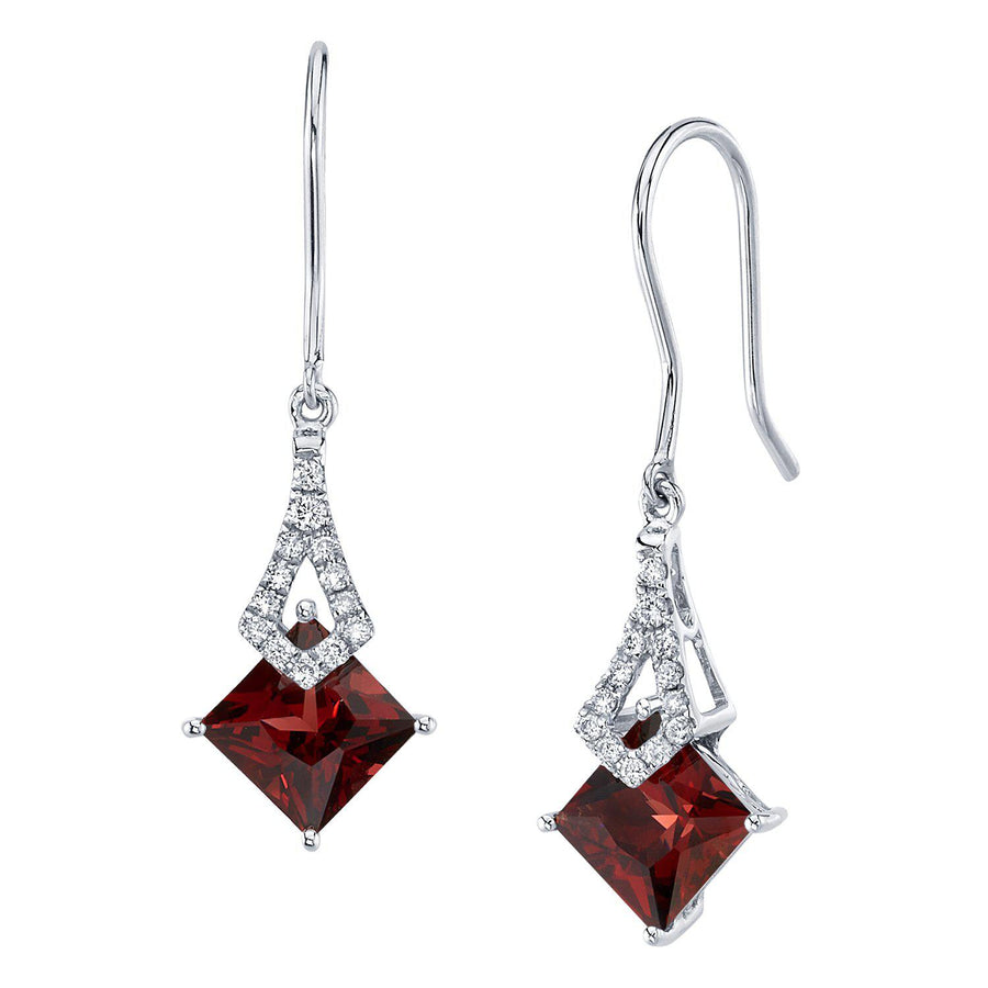 TVON -1.71Cts Princess Natural Gemstone and Diamond - Dangle Earring for Women in 14K Gold with Prong Setting and Fish Hook - Back Finding - E10112 - 13