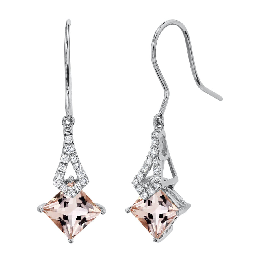 TVON -1.71Cts Princess Natural Gemstone and Diamond - Dangle Earring for Women in 14K Gold with Prong Setting and Fish Hook - Back Finding - E10112 - 14