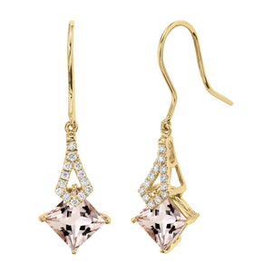TVON -1.71Cts Princess Natural Gemstone and Diamond - Dangle Earring for Women in 14K Gold with Prong Setting and Fish Hook - Back Finding - E10112 - 15