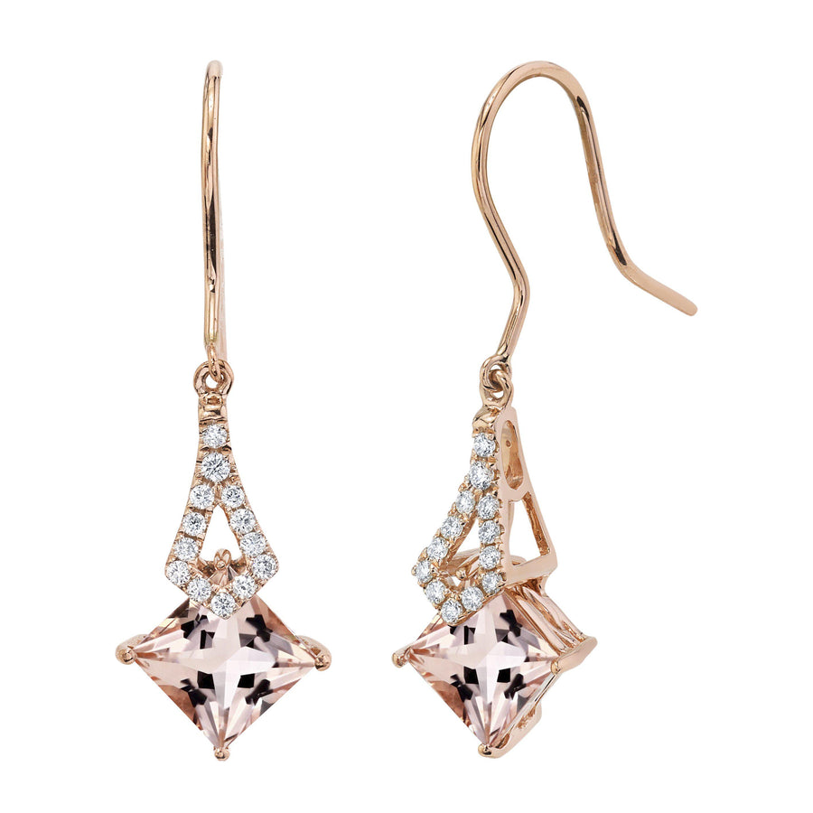 TVON -1.71Cts Princess Natural Gemstone and Diamond - Dangle Earring for Women in 14K Gold with Prong Setting and Fish Hook - Back Finding - E10112 - 16