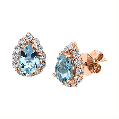 TVON -1.03Cts Pear Natural Santa Maria Aquamarine GemStone and Diamond - Studs Earring for Women in 14K Gold  with Prong Setting and Post Back - Back Finding