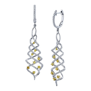 14K 0.62 Cts Yellow Diamond 0.71 Cttw VS Diamond Earrings - TVON.com