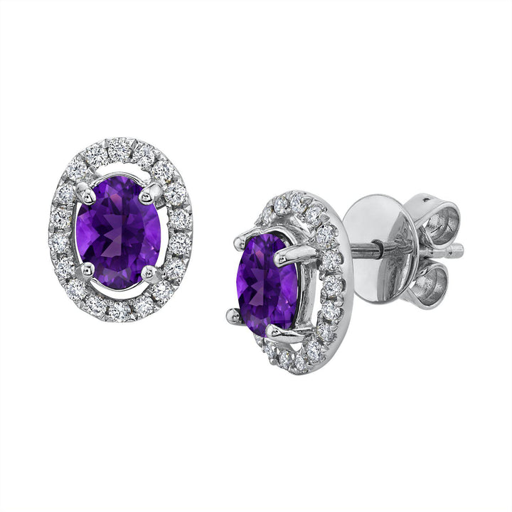 TVON - 0.9Cts Oval Natural Amethyst Gemstone and Diamonds - Studs Earring for Women in 14K Gold with Prong Setting and Post Back - Back Finding - SE10315 - 1
