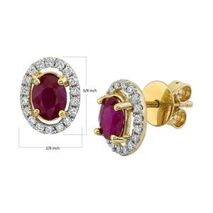 TVON - 1.44Cts Oval Natural Ruby Gemstone and Diamonds - Studs Earring for Women in 14K Gold with Prong Setting and Post Back - Back Finding - SE10315 - 2