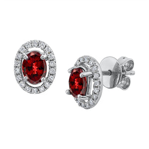 TVON - 1.01Cts Oval Natural Garnet Gemstone and Diamonds - Studs Earring for Women in 14K Gold with Prong Setting and Post Back - Back Finding - SE10315 - 1