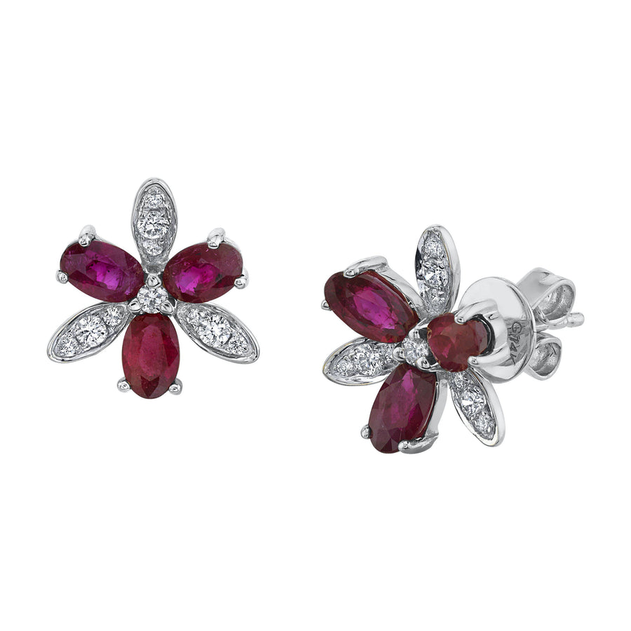14K 1.8 Cts Ruby 0.18 Cttw VS Diamond Earrings - TVON.com