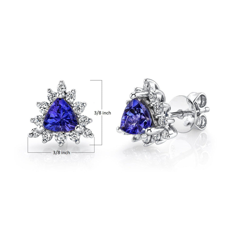 TVON - 0.79Cts Trillion Natural Tanzanite Gemstone and Diamonds - Studs Earring for Women in 14K Gold with Prong Setting and Post Back - Back Finding - SE10355