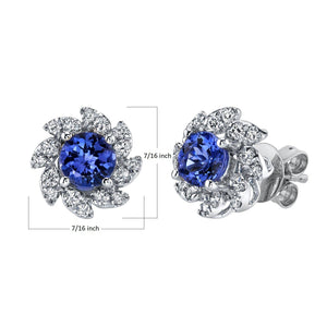 TVON - 0.9Cts Round Natural Tanzanite Gemstone and Diamonds - Studs Earring for Women in 14K Gold with Prong Setting and Post Back - Back Finding - SE10356