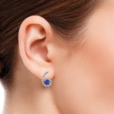 TVON -0.9Cts Round Natural Tanzanite GemStone and Diamond - Studs Earring for Women in 14K Gold  with Prong Setting and Post Back - Back Finding