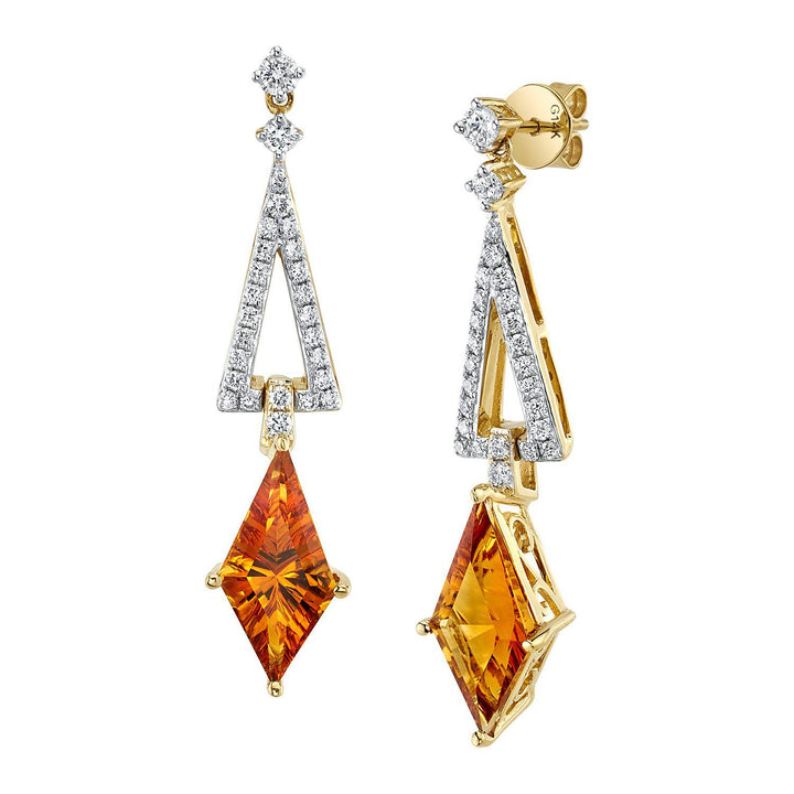 TVON - 2.3Cts Kite Concave GemStone and Diamond - Signature Design Earring for Women in 14K Gold  with Prong Setting and  - Back Finding - 3