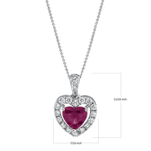 "TVON - 0.9Cts Heart Natural Burma Ruby Gemstone and Diamond - Heart Pendant for Women in 14K Gold with Prong Setting - FREE 18"" Sterling Silver Chain - SP10884"