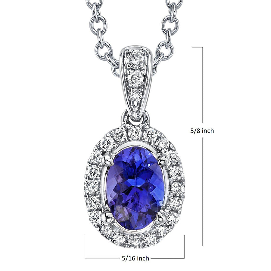 "TVON - 0.68Cts Oval Natural Tanzanite Gemstone and Diamonds - Halo Pendant for Women in 14K Gold with Prong Setting - FREE 18"" Sterling Silver Chain - SP10885"