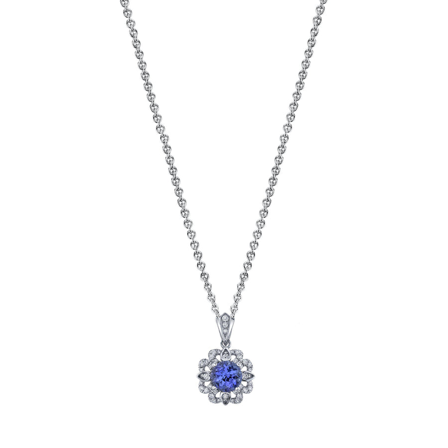 "TVON - 0.99Cts Round Natural Tanzanite Gemstone and Diamond - Vintage Pendant for Women in 14K Gold  with Prong Setting - FREE 18"" Sterling Silver Chain - SP10894"
