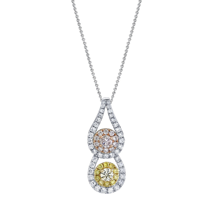 "TVON - 0.09Cts Round Natural Pink Diamond Gemstone and Diamond - Signature Design Pendant for Women in 14K Gold with Prong Setting - FREE 18"" Sterling Silver Chain - SP10896 - 1"