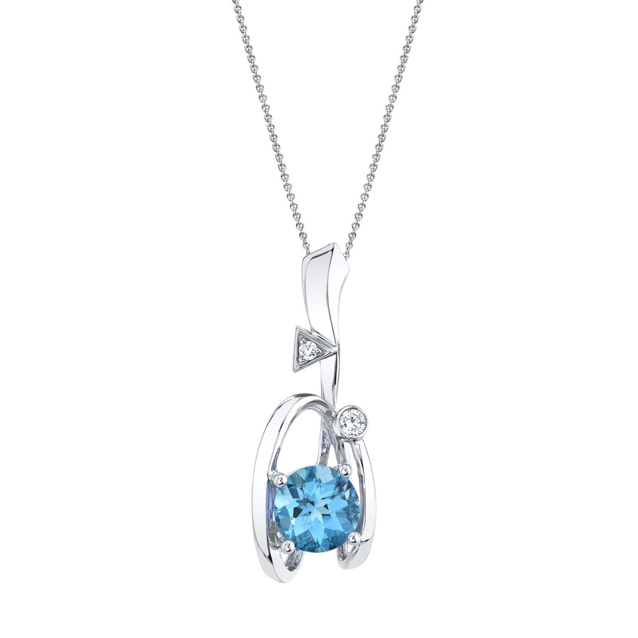 "TVON - 2.11Cts Round Checkerboard Natural Swiss Blue Topaz Gemstone and Diamond - Drop Pendant for Women in 14K Gold with Prong Setting - FREE 18"" Sterling Silver Chain - SP10898"