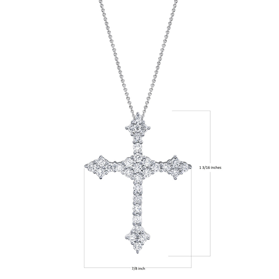 TVON - 0.81Cts Round Shape Natural Diamond -  Cross Pendant for Women in 14K Gold with Prong Setting - SP10901 - 1