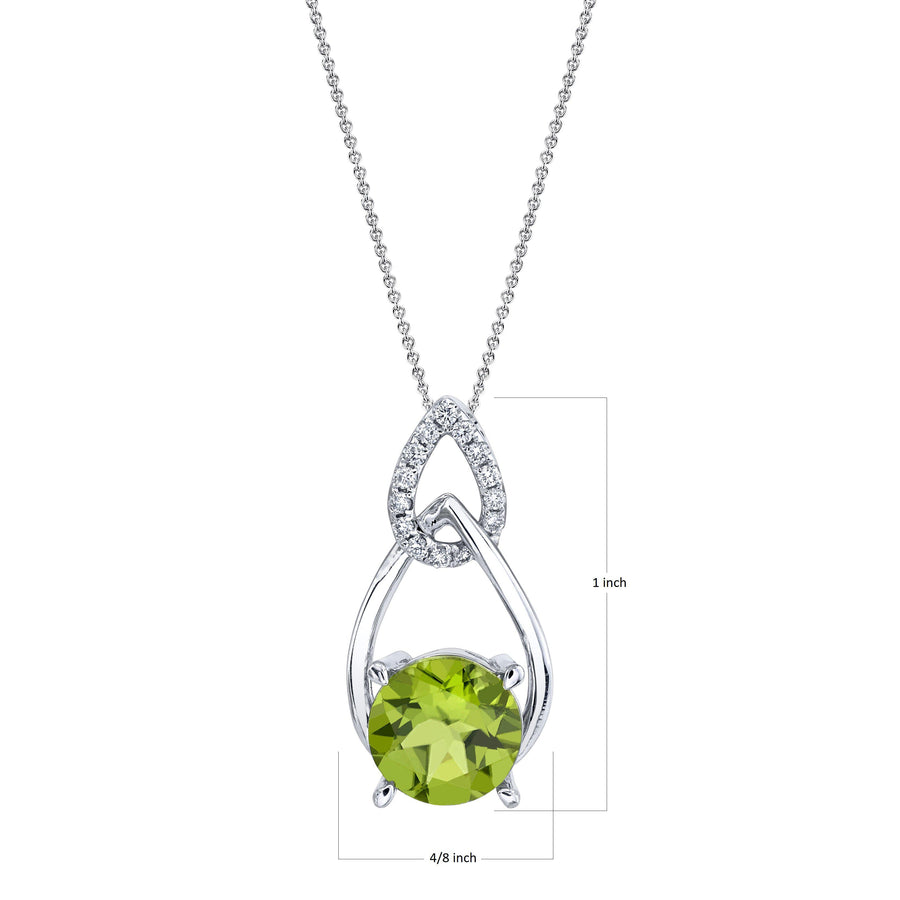 "TVON - 2.4Cts Round Natural Peridot Gemstone and Diamond - Dangle Pendant for Women in 14K Gold with Prong Setting - FREE 18"" Sterling Silver Chain - SP10903"