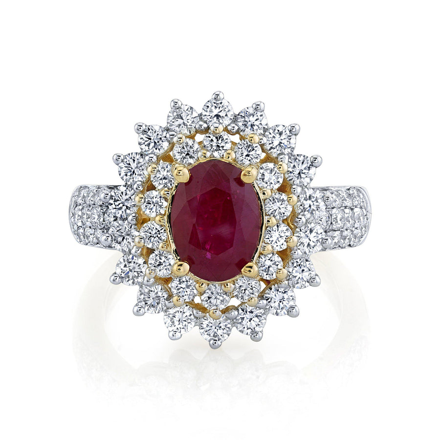 TVON - 1.85Cts Oval Natural Burma Ruby Gemstone and Diamonds - Double Halo Ring for Women in 14K Gold with Prong Setting - SR10487 - 3