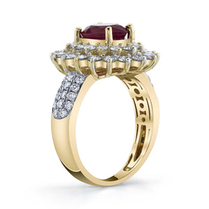 TVON - 1.85Cts Oval Natural Burma Ruby Gemstone and Diamonds - Double Halo Ring for Women in 14K Gold with Prong Setting - SR10487 - 4