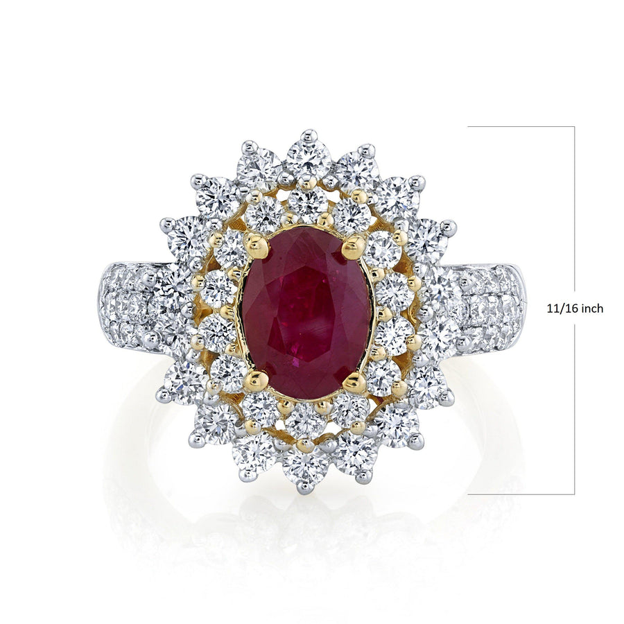 TVON - 1.85Cts Oval Natural Burma Ruby Gemstone and Diamonds - Double Halo Ring for Women in 14K Gold with Prong Setting - SR10487 - 1