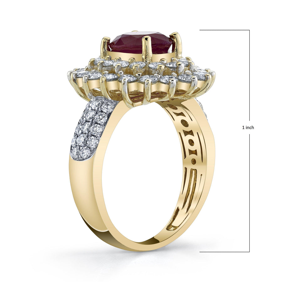 TVON - 1.85Cts Oval Natural Burma Ruby Gemstone and Diamonds - Double Halo Ring for Women in 14K Gold with Prong Setting - SR10487 - 2