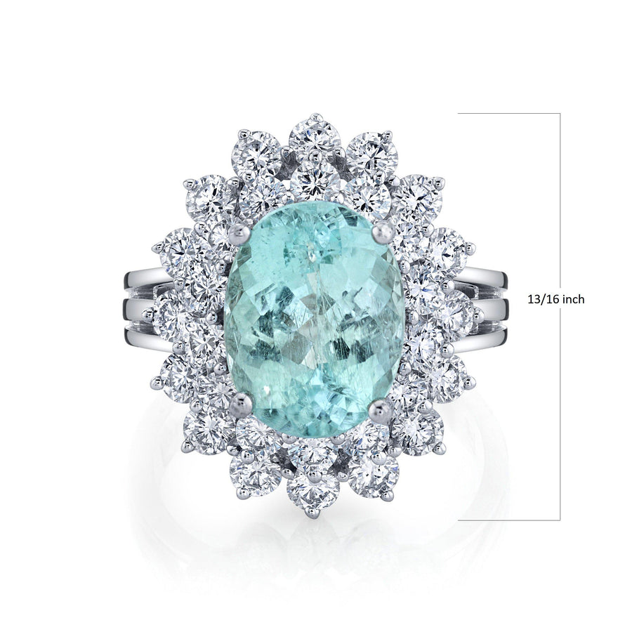 TVON - 4.02Cts Oval Natural Paraiba Gemstone and Diamond - Double Halo Ring for Women in 14K Gold with Prong Setting - SR10500