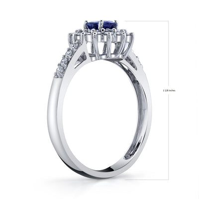 TVON -0.54Cts Oval Shape Natural Tanzanite GemStone and Diamond -  Halo Ring for Women in 14K Yellow Gold with Prong Setting - SR10628