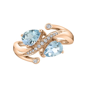 TVON - 0.95Cts Pear Natural Santa Maria Aquamarine Gemstone and Diamond - Signature Design Ring for Women in 14K Gold with Prong Setting - SR10663