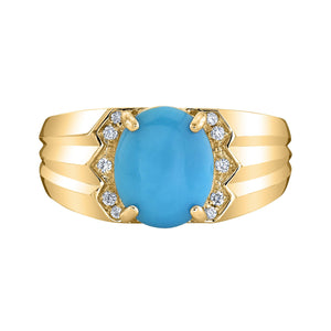 TVON - 1.98Cts Oval Natural Turquoise Gemstone and Diamond - Vintage Ring for Women in 14K Gold with Prong Setting - SR10681