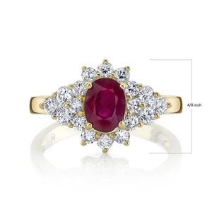TVON - 0.95Cts Oval Burma Ruby Gemstone and Diamonds Ring for Women in 14K Gold - Vintage Style Gemstone Ring - SR10696 - 9