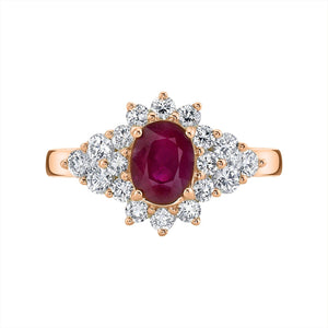TVON - 0.95Cts Oval Burma Ruby Gemstone and Diamonds Ring for Women in 14K Gold - Vintage Style Gemstone Ring - SR10696