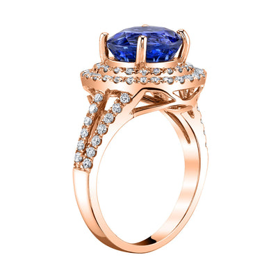 TVON -2.7Cts Round Shape Natural Tanzanite GemStone and Diamond -  Halo Ring for Women in 14K Yellow Gold with Prong Setting - SR10944