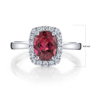 TVON - 1.71Cts Oval Natural Congo Pink Tourmaline Gemstone and Diamonds - Signature Design Ring for Women in 14K Gold with Prong Setting - SR10972 - 1