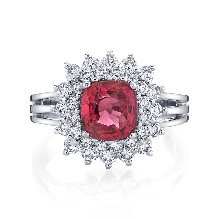14K 2.50 Cts Mahenge Pink Spinel 1.07 Cttw VS Diamond Ring - TVON