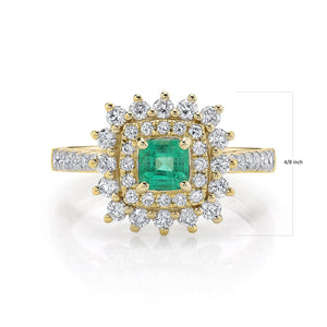 TVON - 0.32cts Square Shape Columbian Emerald Gemstone and Diamonds Ring in 14K Gold for Women Vintage Style Ring - SR11004