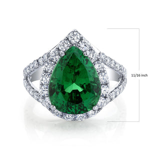 TVON - 6.11Cts Pear Natural Tsavorite Gemstone and Diamond - Signature Design Ring for Women in 14K Gold with Prong Setting - SR11009 - 1