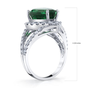 TVON - 6.11Cts Pear Natural Tsavorite Gemstone and Diamond - Signature Design Ring for Women in 14K Gold with Prong Setting - SR11009 - 2
