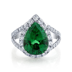 TVON - 6.11Cts Pear Natural Tsavorite Gemstone and Diamond - Signature Design Ring for Women in 14K Gold with Prong Setting - SR11009 - 4