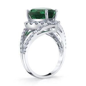 TVON - 6.11Cts Pear Natural Tsavorite Gemstone and Diamond - Signature Design Ring for Women in 14K Gold with Prong Setting - SR11009 - 5