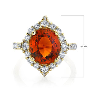 TVON - 5.54Cts Oval Natural Mandarin Garnet Gemstone and Diamond - Signature Design Ring for Women in 14K Gold with Prong Setting - SR11081 - 1