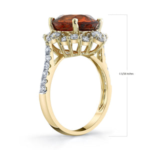 TVON - 5.54Cts Oval Natural Mandarin Garnet Gemstone and Diamond - Signature Design Ring for Women in 14K Gold with Prong Setting - SR11081 - 2